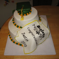 Green & Gold Graduation Cake Bottom layer was white cake with raspberry filling. Top layer was white cake with lemon filling!!!