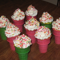 Ice Cream Cone Cupcakes I colored the cake mix to match the color of the cones!