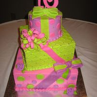 Sweet 16   Stack of presents for 16th birthday. Frosted in buttercream, gumpaste bows and 16. Thanks for looking!