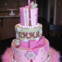 "Birdie First Birthday Cake  I made this for my daughter's first birthday- 4"", 7"", 10"". Matched the invites. Buttercream with fondant accents,..."