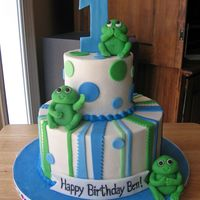 "Whimsical Frog Cake 4"" + 8"" round cakes, frosted in buttercream, MMF frogs and accents. Thanks for looking!"