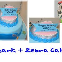 Shark And Zebra Cake This cake has a funny story. The birthday boy considers himself a shark with the ladies and the Zebra represent the ladies chasing him. He...