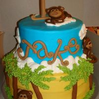 Monkey 1St Bday This cake was for a monkey themed 1st birthday party. Thanks to Monos, Merissa and several others for the wonderful ideas. BC with fondant...