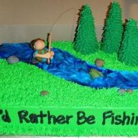 Fly Fishing BC with gumpaste figures. I got lots of inspiration from other fishing cakes on the site. The tree tutorial couldn't have been written...
