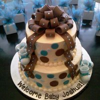 "Polka Baby Boy Shower Cake BC with fondant accents and gems for a touch of bling. Airbrushed with pearl dust (which resulted in an ""elephant skin"" look......"