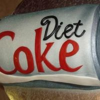 Diet Coke Can Fondant covered and airbrushed silver with fondant accents