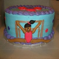 Gymnastics Bday Cake This was a cake for a little girl's Gymnastics party. Her favorite skill is the parallel bars. Its a 10 in cake with 2 dozen purple...