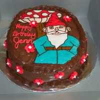 "Gnome Cake FBCT on 9"" carved to oval, double chocolate cake with, sad to say, store bought chocolate icing. Transfer was hand drawn, then traced..."