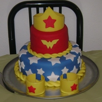 Wonder Woman Cake Made this for my birthday this past weekend. All my friends loved it!Made the tiara and bracelets by wrapping wax paper around 2 Campbell...