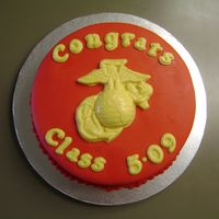 Marine Corps Graduation Cake This was for a Staff Academy graduating class. The entire class chipped in to pay for it. The letters and E.G.A were made with Wilton Candy...