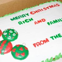 "Christmas Yellow cake with pineapple/bavarian cream filling frosted with whipped cream buttercream frosting. Fondant covering the ""ornaments&..."