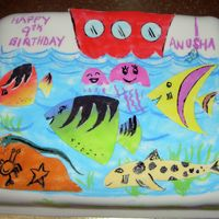 Sea World My daughter decorated this cake. All the fish are fondant coloured with pastel chalks. Please look at the original drawing done by my...