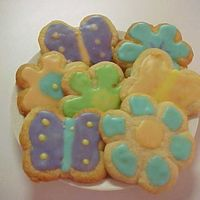 Sugar Cookies This is my first time using the poured icing and I love it. I forgot to get a picture of the really good ones, these are the left over ones...