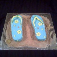 Flip Flop Cake Flowers and straps are made from gumpast.