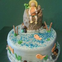 Gone Fishin' Buttercream cake with fondant accents