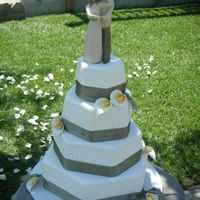 Kim's Wedding All fondant, satin ribbon, gumpaste callas