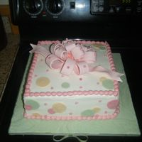 Baby Shower 10 inch iced in buttercream. Fondant accents. Fondant loopy bow.