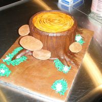 "Fairy Tree Stump For a client who wanted a tree stump...she had little fairies to put around it. It is a fondant covered 6"", and my hubby did the..."