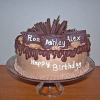 Chocolate Birthday Cake  This was for a joint birthdat celebration - Chocoloate molds with white chocolate names written (a little thick, but my first try) and...