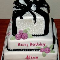 Alice's Birthday   Fondant covered, with top layer luster dusted, fondant pearls and roses. writing in luster dust