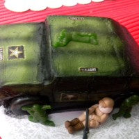 Army Cake Carrot Cake bc frosted w/airbrushed details. Gumpaste figures and gummy figures along with edible paper decals. TFL