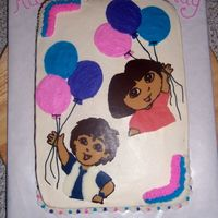 Dora And Diego 3Rd Birthday Cake This cake is decorated in buttercream colored by my DH except for the Dora and Diego chocolate transfers.