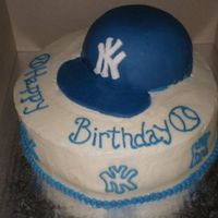 "Ny Yankees Cap NY Yankees cap, devils food cake covered in fondant. French Vanilla 10"" round."