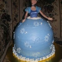 Cinderella Princess Cake Made for a friend and client who was having a princess themed birthday party. Client supplied a Cinderella barbie doll to use for the cake...