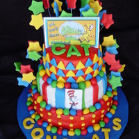Dr. Seuss Graduation Cake   Oh the places you'll go theme. Butter cream w/ mmf decorations