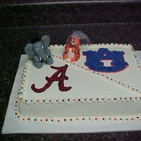 Alabama/auburn Shower Cake  Was asked to make an shower cake for some football fanatics. And of course it is a mixed marriage - Alabama/Auburn. The elephant and the...