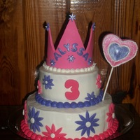 Princess Cake Fondant and gumpaste crown. Buttercream icing with fondant accents.