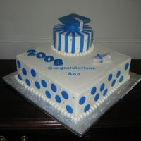 Blue Polka Dots And Stripes Grad Cake  For my sister's college graduation. There was supposed to be an edible image of her school's seal in the bottom corner, but I...
