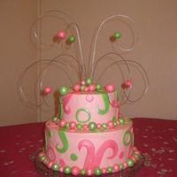 Pink And Green  SMBC, Fondant Decorations with Super Pearl Luster Dust. I've seen several cakes with wire with fondant balls, and I've been...
