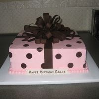 Pink Polka Dot Present   Made to match the birthday girl's dress. Still need to work on my bows!
