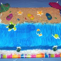 Beach Cake  We had a Hawaiian luau for our dogs 4th Birthday party. This is a 13 x 9 chocolate fudge cake with banana flavored buttercream. I used...