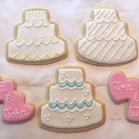 Wedding Cookies   My largest order to date! 60 each of double hearts and wedding cake cookies.