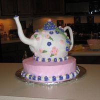 Teapot Cake A friend and I did this cake together = made the handle and spout out of paper mache