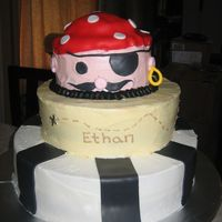 Pirate Birthday This was an idea I got from a cakecentral member. It was covered in buttercream and accented with fondant.