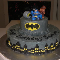 Batman Cake This was a marble cake decorated with butter cream frosting.