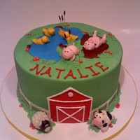 Barnyard Birthday Cake 8 inch round cake, buttercream with fondant details and animals