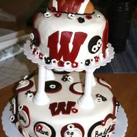 Badger Spirit  This is my final cake from Wilton Course 3. I decided to deviate from the wedding cake theme and show my Badger spirit. My husband took...