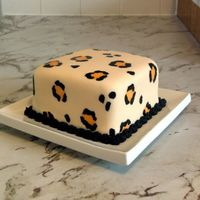Leopard Print Cake Butter pecan cake covered in fondant, spots were painted on with food coloring mix with vodka