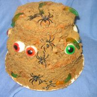 Spooktacular Spice Cake A Pumpkin Spice Cake with cream cheese frosting made to look like something thrown together by an Adam's Family Chef