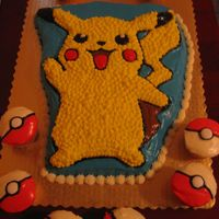 Pikachu This was a chocolate cake topped with cream cheese icing. The pokeballs are cupcakes. The white center of the pokeball is a pepermint mento...