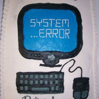 Computer Cake For It 1/2 sheet with buttercream frosting