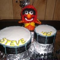 Animal From The Muppets Animal is all fondant and buttercream, drum cakes are buttercream