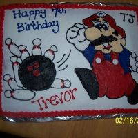 Mario/bowling Party Cake Mario drawn freehand in buttercream