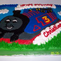 Thomas The Train Thomas the Train Birthday cake, 1/4 sheet done freehand in buttercream