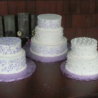 White Buttercream With Purple Dots/scrolls