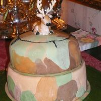 Hunting Birthday Cake One of my relatives loves hunting, so for his birthday I made him this cake with camoflage base and cross hairs centered on a deer, which...